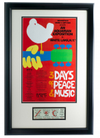 Woodstock 16x23 Custom Framed Poster Display with Vintage 1969 3-Day Full Event Woodstock Ticket at PristineAuction.com