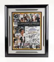 Raiders 21x25 Custom Framed Poster Display Signed by (24) with Fred Biletnikoff, Ted Hendricks, Ken Stabler & Jack Tatum with Multilple Inscriptions (JSA ALOA) at PristineAuction.com