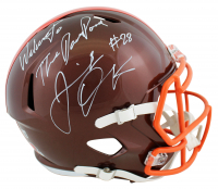 """Jeremiah Owusu-Koramoah Signed Browns Full-Size Flash Alternate Speed Helmet Inscribed """"Welcome to the Dawg Pound"""" (Beckett COA) at PristineAuction.com"""