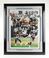 Raiders 25x31 LE Custom Framed Photo Display Signed by (5) with Jerry Rice, Tim Brown, Rich Gannon, Charles Woodson & Charlie Garner (JSA COA) at PristineAuction.com