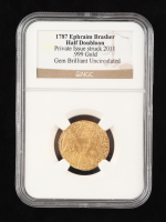 1787 Gold Ephraim Brasher Half Doubloon Private Issue Struck 2011 (NGC Gem Brilliant Uncirculated) with Display Box at PristineAuction.com