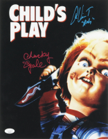 """Alex Vincent & Ed Gale Signed """"Child's Play"""" 11x14 Photo Inscribed """"Andy"""" & """"Chucky"""" (ACOA COA & JSA COA) at PristineAuction.com"""