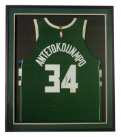 Giannis Antetokounmpo Signed Bucks 32x36 Custom Framed Jersey Display (Beckett COA) at PristineAuction.com