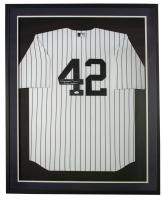 "Mariano Rivera Signed Yankees 32x36 Custom Framed Jersey Display Inscribed ""Enter Sandman"" (JSA COA) at PristineAuction.com"
