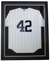 """Mariano Rivera Signed Yankees 32x36 Custom Framed Jersey Display Inscribed """"Last To Wear #42"""" (JSA COA) at PristineAuction.com"""