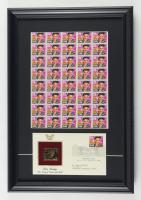 Elvis Presley 13x19 Custom Framed Uncut Stamp Sheet Display with Gold Stamp. at PristineAuction.com