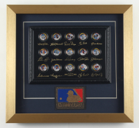 """Merrick Mint """"All-Time Legends"""" 13x16 Custom Framed Commemorative Coin Set Display with Babe Ruth, Jackie Robinson, Joe DiMaggio with Patch at PristineAuction.com"""