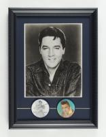 Elvis Presley 11.5x15.5 Custom Framed Photo with Set of Two 1960's Vari-Vue Blinker Pins at PristineAuction.com