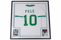 Pele Signed Cosmos 32x36 Custom Framed Jersey Display (Beckett COA) at PristineAuction.com