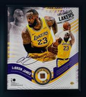 LeBron James Lakers LE 15x17 Custom Framed Basketball Piece Display (Fanatics Hologram) at PristineAuction.com