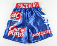 """Manny Pacquiao Signed Fight Model Boxing Trunks Inscribed """"Pacman"""" (Pacquiao COA) at PristineAuction.com"""