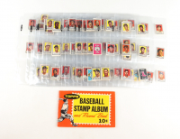 1962 Topps Baseball Stamp Album & Record Book Complete Set of (201) Stamps with Yogi Berra, Mickey Mantle, Sandy Koufax, Hank Aaron at PristineAuction.com