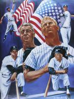 Mickey Mantle & Joe DiMaggio Signed Yankees 18x24 Lithograph (JSA ALOA) (See Description) at PristineAuction.com