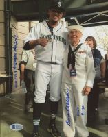 """Burke Waldron Signed 8x10 Photo Inscribed """"WW2 43-46"""" & """"With Felix Hernandez, May 2017"""" (Beckett COA) at PristineAuction.com"""