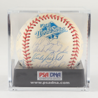 1991 Twins Team Signed 1991 World Series Baseball with Display Case Signed By (29) with Chili Davis, Tony Oliva, Kent Hrbek, Kirby Puckett, Jack Morris (PSA LOA) at PristineAuction.com