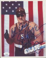 "Sgt. Slaughter Signed G.I. Joe 8x10 Photo Inscribed ""At Ease"" (JSA COA) at PristineAuction.com"