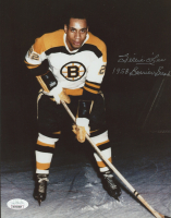 """Willie O'Ree Signed Bruins 8x10 Photo Inscribed """"1958 Barrier Breaks"""" (JSA COA) at PristineAuction.com"""