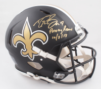 """Drew Brees Signed Saints Full-Size Authentic On-field Eclipse Alternate Speed Helmet Inscribed """"Passing Record 10/8/18"""" (Beckett COA) at PristineAuction.com"""