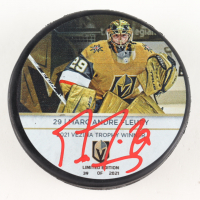 Marc-Andre Fleury Signed Golden Knights Logo Hockey Puck (Fanatics Hologram) at PristineAuction.com