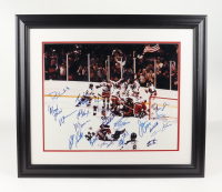 """1980 Team USA Hockey Team Signed 24x27 Custom Framed """"Miracle On Ice"""" Photo Signed By (20) with Mike Eruzione, Jim Craig, Dave Silk, Steve Christoff (PSA LOA) at PristineAuction.com"""
