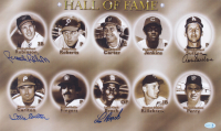 """""""Hall of Fame"""" 12x20 Photo Signed by (4) with Brooks Robinson, Don Sutton, Steve Carlton & Lou Brock (Feller Hologram) at PristineAuction.com"""