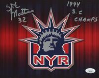 "Stephane Matteau Signed Rangers 8x10 Photo Inscribed ""1994 S.C. Champs"" (JSA Hologram) at PristineAuction.com"