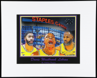 """Anthony Douglas Signed """"Los Angeles Lakers Big Three"""" 16x20 Custom Matted LE Lithograph Display (Pristine Auction LOA) at PristineAuction.com"""