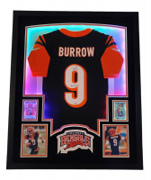 """Joe Burrow Signed Bengals 35x43 Custom Framed LED-Backlit Jersey Display Inscribed """"2020 #1 Pick"""" with 2020 Rookies and Stars #101 RC & 2020 Panini Mosaic #201 RC (Fanatics Hologram) at PristineAuction.com"""
