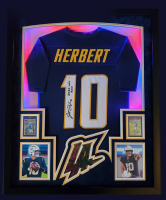 """Justin Herbert Signed 35x43 Custom Framed LED-Backlit Jersey Display Inscribed """"2020 NFL ROY"""" with 2020 Prestige #303 & 2020 Panini Legacy #203 (Beckett COA) at PristineAuction.com"""