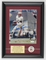 Jim Brown Signed Browns 12x16 Custom Framed Photo with Official 1960s Browns Pin (JSA COA) at PristineAuction.com