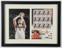 Yao Ming Rockets 12x15 Custom Framed Photo & Stamp Display at PristineAuction.com