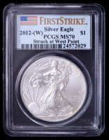2012-(W) American Silver Eagle $1 One Dollar Coin - First Strike, Struck at West Point Mint (PCGS MS70) at PristineAuction.com