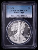 2012-W American Silver Eagle $1 One Dollar Coin (PCGS PR70 Deep Cameo) at PristineAuction.com