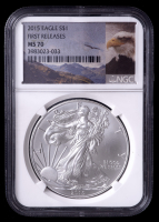 2015 American Silver Eagle $1 One Dollar Coin - First Releases, Eagle Label (NGC MS70) at PristineAuction.com