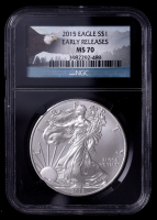 2015 American Silver Eagle $1 One Dollar Coin - Early Releases, Black Core Holder, Eagle Label (NGC MS70) at PristineAuction.com
