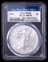 2016 American Silver Eagle $1 One Dollar Coin - First Strike, 30th Anniversary, Struck at West Point Label (PCGS MS70) at PristineAuction.com