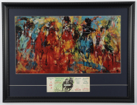"""LeRoy Neiman """"Kentucky Derby"""" 18x23 Custom Framed Print Display With 1968 Kentucky Derby Ticket at PristineAuction.com"""