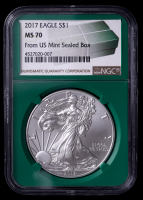 2017 American Silver Eagle $1 One Dollar Coin - Green Monster Box Holder (NGC MS70) at PristineAuction.com