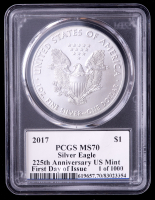 2017 American Silver Eagle $1 One Dollar Coin - First Day of Issue, 225th Anniversary, Moy Signed Label (PCGS MS70) at PristineAuction.com
