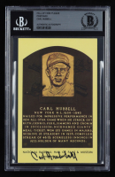 Carl Hubbell Signed Hall of Fame Plaque Postcard (BGS Encapsulated) at PristineAuction.com