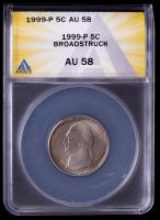 Mint Error 1999-P Jefferson Nickel - Broadstruck (ANACS AU58) at PristineAuction.com