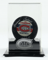 """Maurice Richard Signed Canadians Hockey Puck with Display Case Inscribed """"H.O.F. 60"""" (Beckett COA) at PristineAuction.com"""