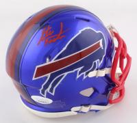 Steve Tasker Signed Bills Flash Alternate Speed Mini Helmet (JSA COA) at PristineAuction.com