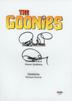 "Richard Donner & Chris Columbus Signed ""The Goonies"" Movie Script Cover (PSA Hologram) at PristineAuction.com"