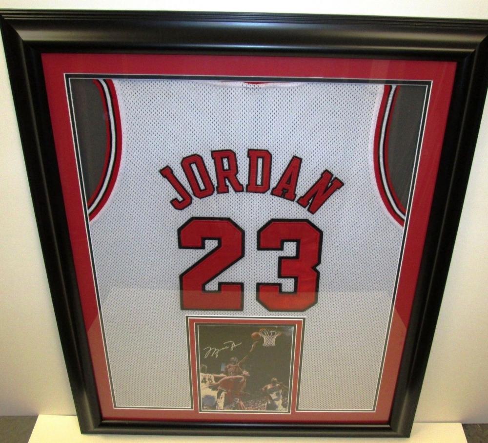 michael jordan bulls 37 x 31 custom framed jersey with signed photo uda