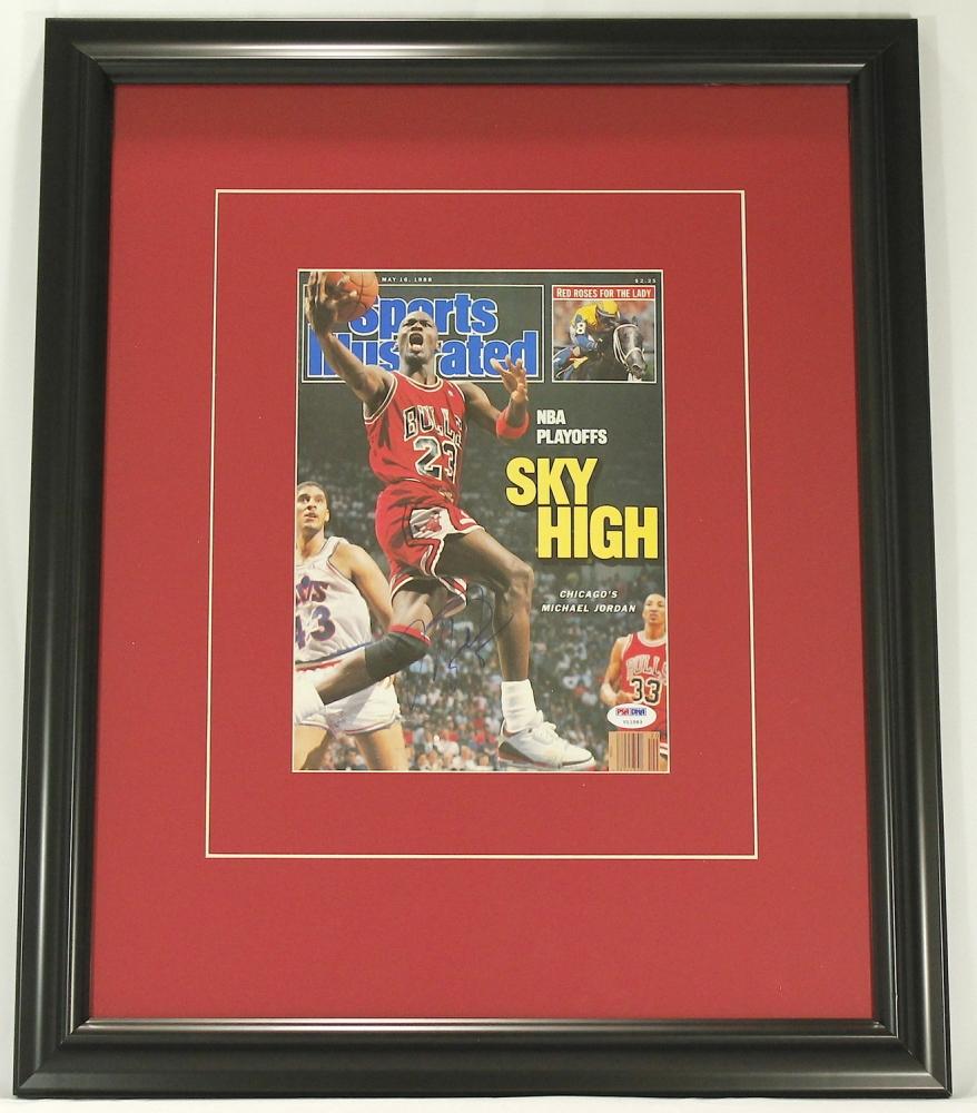 michael jordan signed 19x23 custom framed 1988 sports illustrated magazine psa loa at pristineauction