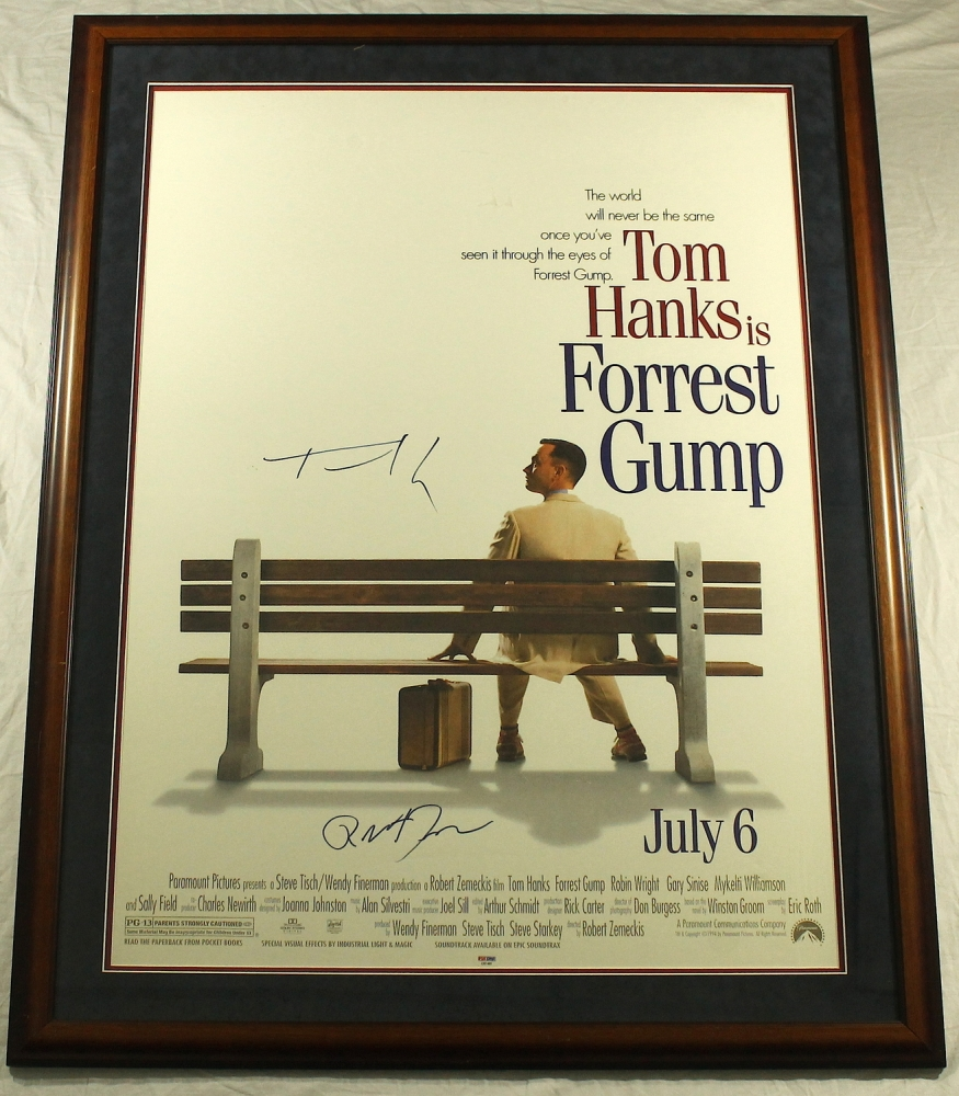 tom hanks robert zemeckis signed forrest gump 34x43 custom framed movie poster - Movie Posters Framed