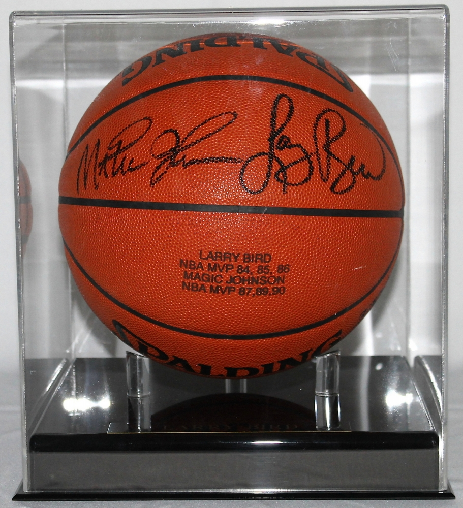 larry bird u0026 magic johnson signed official game ball with display case uda coa - Basketball Display Case