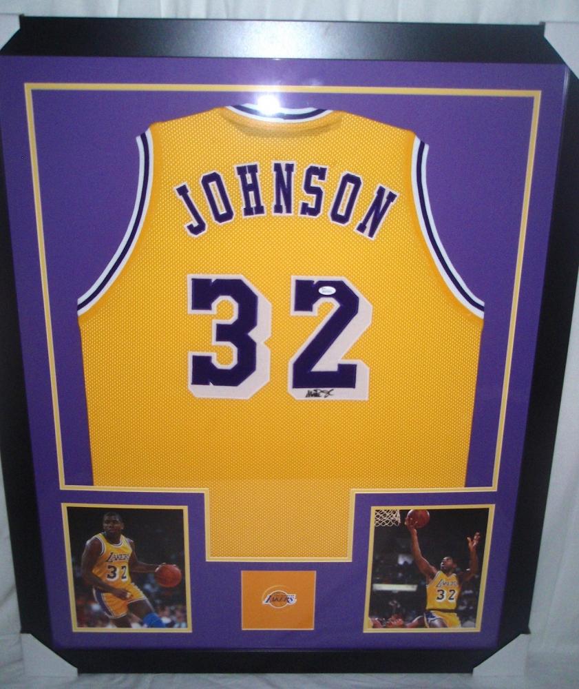 8ca01b95e09 Magic Johnson Signed Lakers 35 Magic Johnson Signed Lakers 35x43 Custom  Framed Jersey (JSA COA) at PristineAuction.com ...