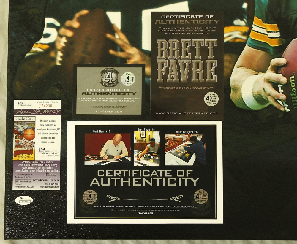 Main Bart Star Brett Favre Aaron Rodgers Signed Limited Edition Stretched Canvas Jsa Pristineauction Packers Starr